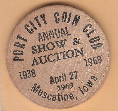 1969 Muscatine IA, Port City Coin club wooden Half- John F. Kennedy reverse