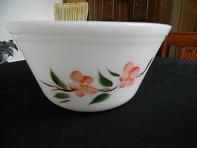 "Vintage Federal Glass Mixing Bowl 9"" Painted Flowers w/ Gold Accent Gay Fad"