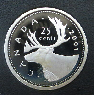 2001 Canada Sterling Silver 25 cents quarter Dollar Caribou - Frosted Proof