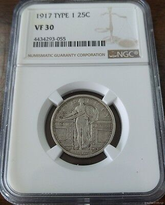 1917 type 1 Standing Liberty silver quarter dollar coin NGC VF30