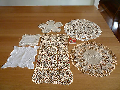 HANDMADE Vintage Crochet DOILIES DOILEY DOILY 6 in total
