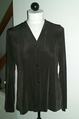 Chico's Travelers Size 1 Brown V Neck Button Front  Long Sleeve  Top Tunic