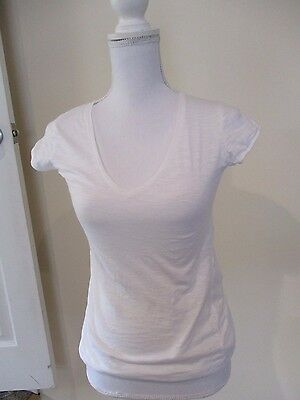 ZARA Collection white stretch cap puff sleeve  blouse T shirt top sz S