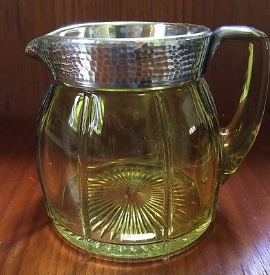 Yellow Vaseline Heisey Water Pitcher Sterling Silver on Handle Rim Buy It Now