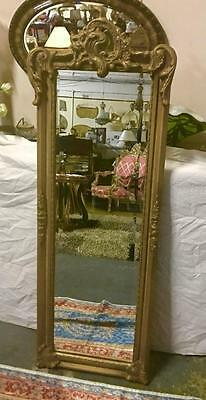 TALL ANTIQUE BAROQUE FRENCH TRUMEAU PIER GOLD FLOOR MIRROR .152cm HIGH