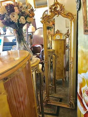 TALL ANTIQUE BAROQUE FRENCH TRUMEAU GOLD FLOOR MIRROR .180cm HIGH