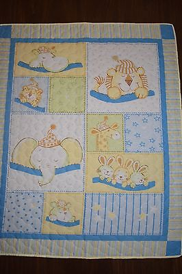 Blue Sleeping Animals cot quilt
