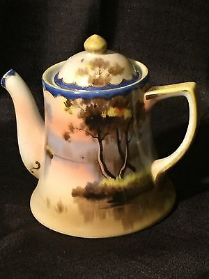 Hand Painted Demitasse After Dinner Coffee Pot Made In Japan Nature Scene Nippon