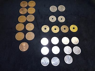 VINTAGE  LOT OF 30 - JAPAN COINS YEN  MONEY - early 1980's and prior