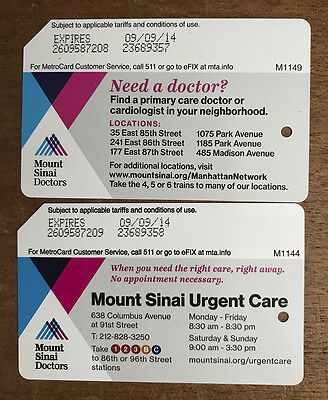 Set of 2 Mount Sinai NYC Subway MetroCard in mint condition