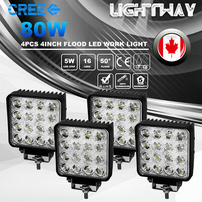 4X4inch 80W LED Flood Work Light Bar Offroad Fog Driving Lamps 4WD Atv Boat Truc
