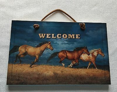 Welcome Sign Running Wild Horses Blue Sky Western Cowboy Decor Leather Rope Hook