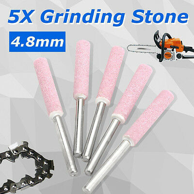 """5X Chainsaw Sharpener Burr Grinding Stone File 3/16"""" 4.8mm Chain Saw Sharpening"""