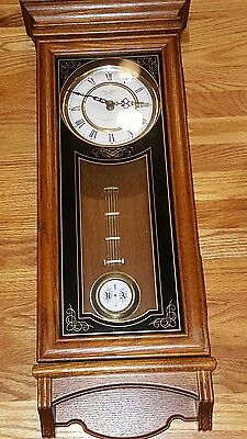 Verichron QUARTZ Tall Oak Wall Clock with Westminster Chimes