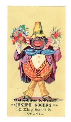 JOSEPH ROGERS HATS, CAPS & FURS TORONTO Trade Card RACIST FLASHY BLACK MAN