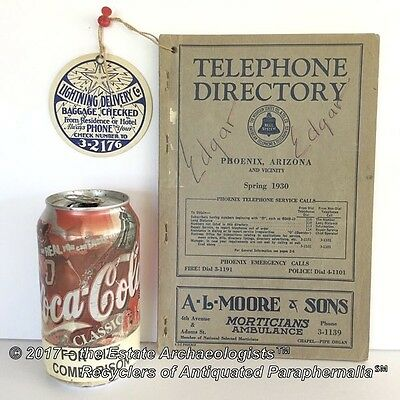 Spring1930 Telephone Directory, Phone Book, PHOENIX AZ and vicinity