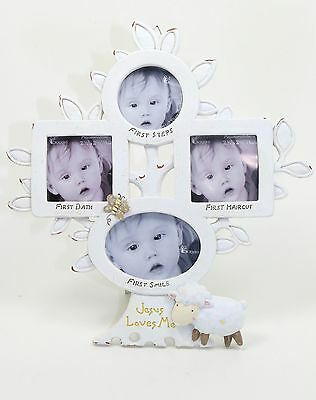 Dicksons Jesus Loves Me Photo Frame, White with Lamb, Baby's Firsts