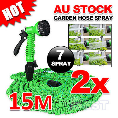2X Pocket Self Expanse Expandable Water Garden Magic Hose Flexable Stretch 15M