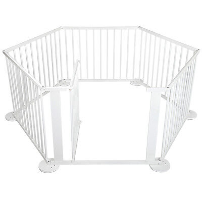 Deluxe White Wooden Panel Safety Playpen for Baby / Toddler With Lockable Gate