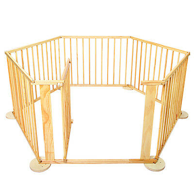 Baby / Toddler Wooden Panel Playpen with Lockable Safety Gate