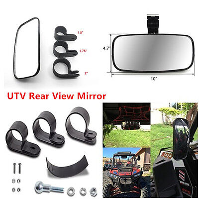 "Universal UTV Off Road ABS Clear Rear View Center Mirror Fit 1.375"" -2'' Tubing"