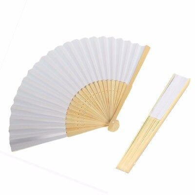Lot 100Pcs White Hand Paper Chinese Folding Carved Bamboo Retro Fan Wedding