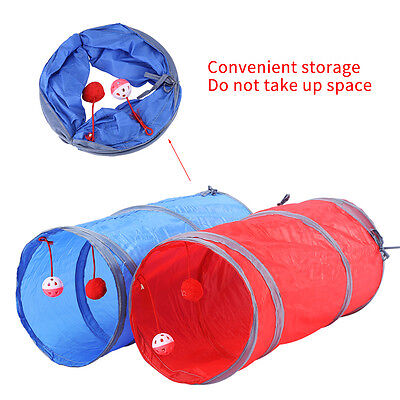 Folding Pet Cat Tunnel Kitten Toy Play Fun with Ball Printed Scratch Playing SG