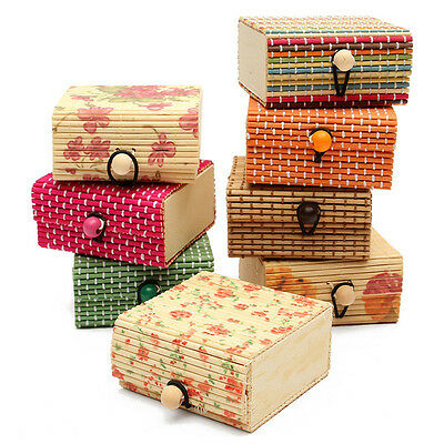 Bamboo Wooden Case & Jewelry Box Ring/Necklace/Earrings Storage Display Case