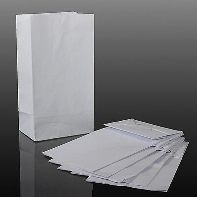 Lot 100Pcs Vomit Sick White Paper Bags Poly Coated Travel Sickness Disposal Bag