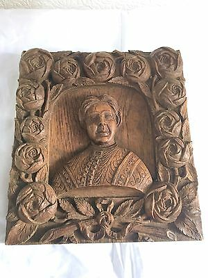 ANTIQUE Vintage hand carved WOODEN PLAQUE PANEL with lady & rose's decoration