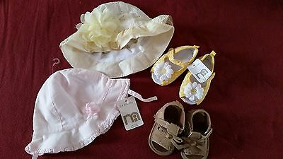 Baby Girl Mothercare Summer Sunhat and Pram Shoes Bundle - Size 3-6 Months BNWT