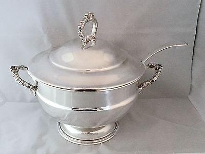 """ANTIQUE Vintage Sheffield SILVER PLATED TUREEN with ladle by VAN RIEBEECK ,10""""Wd"""