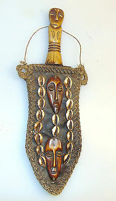 Antique African Tribal Knife With Carved Handle,leather Sheath,