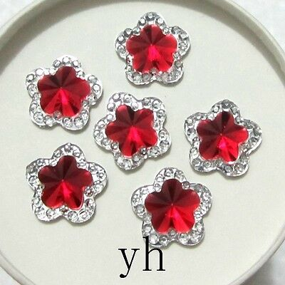 HOT 30PCS 12mm Resin flower  Flatback Rhinestone wedding  Embellishment buttons