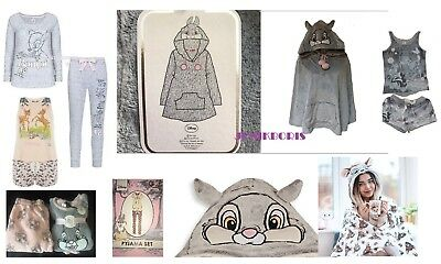 Primark Disney Soft Fleece Thumper Rabbit Bambi Pyjamas Set Hooded Poncho Throw