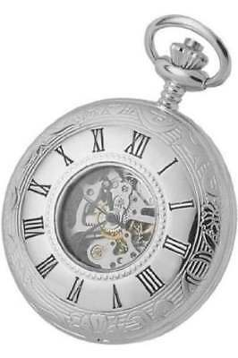 Woodford Double Half Hunter Chrome Plated Mechanical Pocket Watch 1078