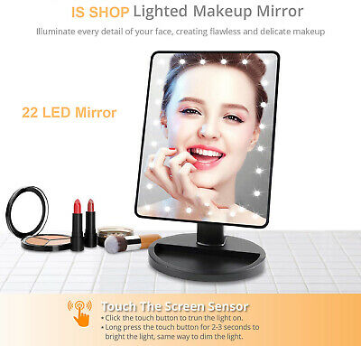 22 LED Lights Illuminated Make Up Cosmetic Bathroom Touch Shaving Vanity Mirror