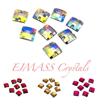 Square Shape EIMASS® Sew or Glue on Resin Crystals, Flat Back Gems for Costume