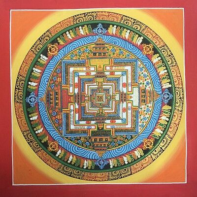 Original Tibetan Chinese HandPainted Signed Mandala Gold leaf Thangka Painting 6