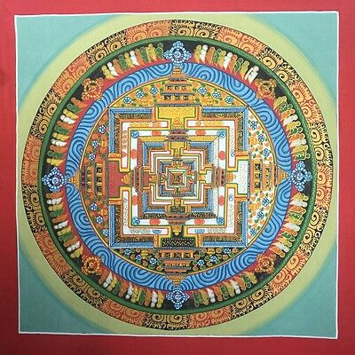 Original Tibetan Chinese HandPainted Signed Mandala Gold leaf Thangka Painting 7