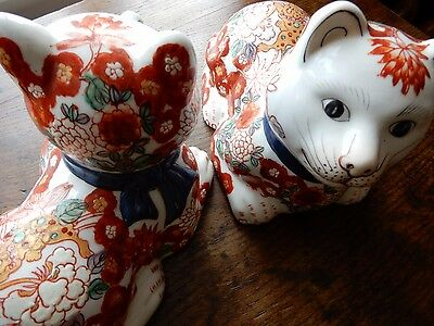 Vintage, Porcelain Cats, Pair of Oriental China Cats, Chinese Imari Pattern,