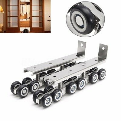 2x Sliding Wooden Door Hanging Wheels Closet Hangers Roller Hardware Heavy Duty