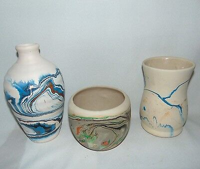 Nemadji Pottery Lot of Three Indian River Made in USA