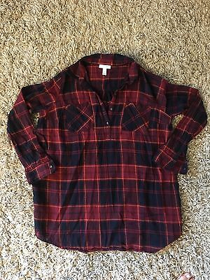Women's Liz Lange Maternity Shirt Top Tunic Plaid Red Navy Long Sleeve Large L