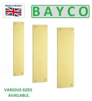 Finger Plate / Push Plate / Door Plate Polished Brass Drilled & Csk. Solid Brass