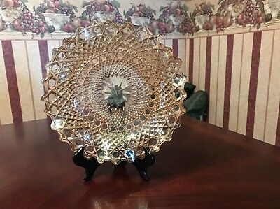 Carnival Glass Marigold Scalloped Ruffled Serving Dish