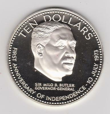 1974 BAHAMAS $10 LARGE SILVER PROOF INDEPENDENCE 1.5 oz ASW some toning