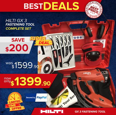 Hilti Gx 3 Gas-Actuated Fastening Tool, New, Free Knife Set, Extras, Fast Ship
