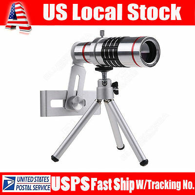 18x Optical Zoom Telescope Camera Lens Kit Tripod For Cell Phone Smartphone BP