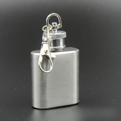 Flask 1 oz mini stainless steel screw cap hip pocket key chain alcohol liquor